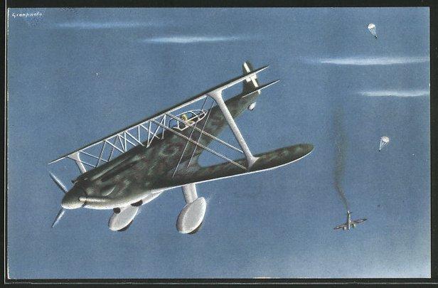 Künstler-AK Aeroplani Caproni S. A. Milani, Caproni 165, italienisches Kampfflugzeug