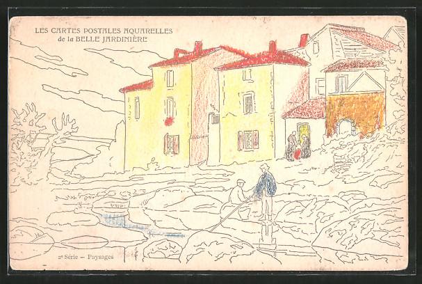 Aquarell-AK Belle Jardinière, Menschen stehen vor ihren Häusern