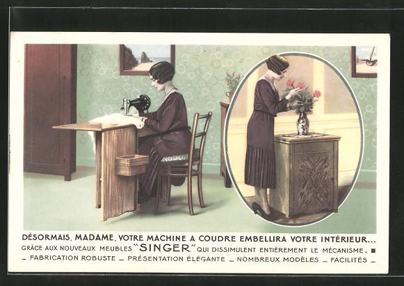 AK Désormais, Madame, votre Machine a Coudre Embellira votre Intérieur..., Reklame für Singer-Nähmaschine