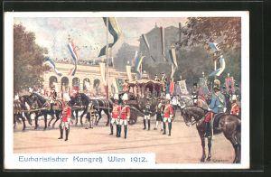 Künstler-AK C. Benesch: Wien, Eucharistischer Kongress 1912, Staatskutsche