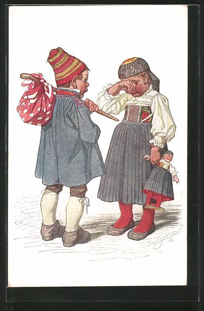 Künstler-AK Emil Beithan: Mädchen in Tracht mit Puppe in der Hand