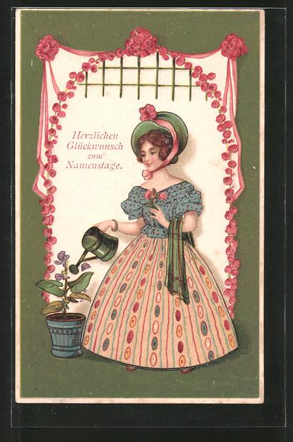 AK Mode, Frau in Kleid und Hut der Biedermeierzeit