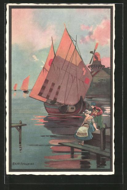 Künstler-AK sign. Ezio Anichini: Niederländischens Paar, Segelboot und Windmühle