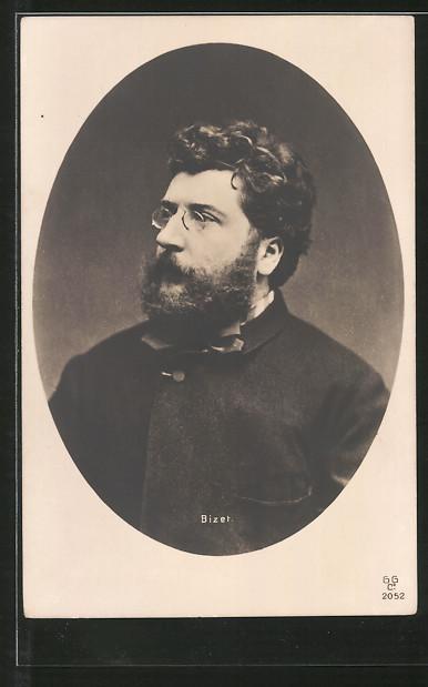 AK Bizet, Brustportrait des Komponisten