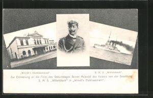 AK Zur Erinnerung an die Feier des Geburtstages S.M. des Kaisers der Besatzung SMS Wittelsbach in Wriedt's Etablissement