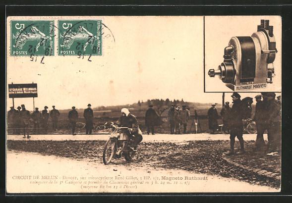 AK Melun, Circuit de Melun, Rennfahrer Dubost auf seinem Motorrad René Gillet 3 HP, Reklame für Ruthardt Magneto