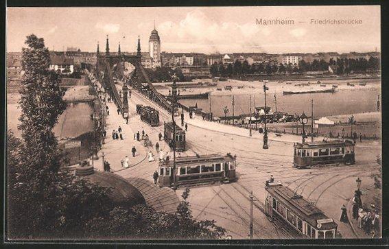 AK Mannheim, Strassenbahnen auf der Friedrichsbrücke