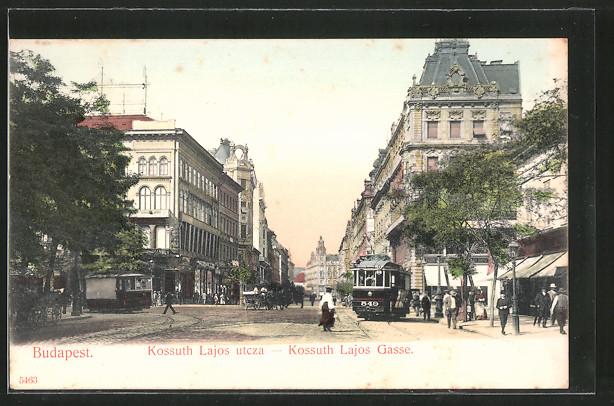 AK Budapest, Strassenbahnen in der Kossuth Lajos Gasse, Kossuth Lajos utcza, Pferdegespann