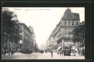 AK Budapest, Strassenbahnen in der Kossuth Lajos-Gasse, Pferdekutsche, Kossuth Lajos utcza