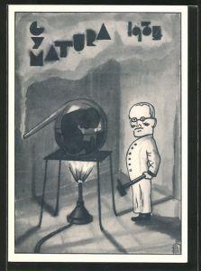 Künstler-AK Gym Matura 1934, Chemie, Absolventenhumor