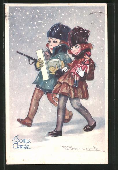Künstler-AK Sergio Bompard: Kinder laufen mit Puppe und Geschenken durch den Schnee, Neujahr