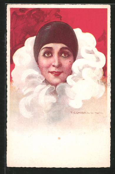 Künstler-AK Tito Corbella: Porträt einer Frau im Harlekinkostüm