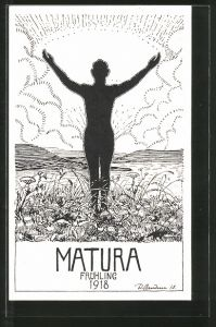 Künstler-AK Absolvia Matura 1918, Student breitet die Arme aus