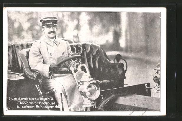 AK Staatsoberhäupter auf Reisen, König Victor Emanuel in seinem Reiseautomobil