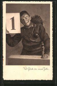 AK Viel Glück im neuen Jahr, Schornsteinfeger mit Kalenderblatt 1