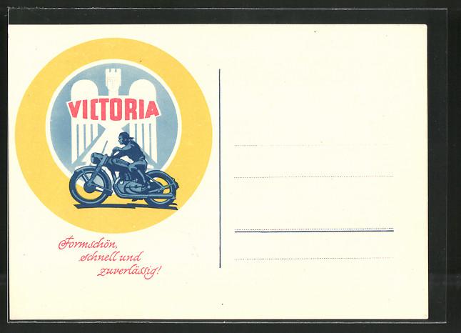 AK Reklame für Motorrad Victoria, Motorradfahrer auf seinem Motorrad