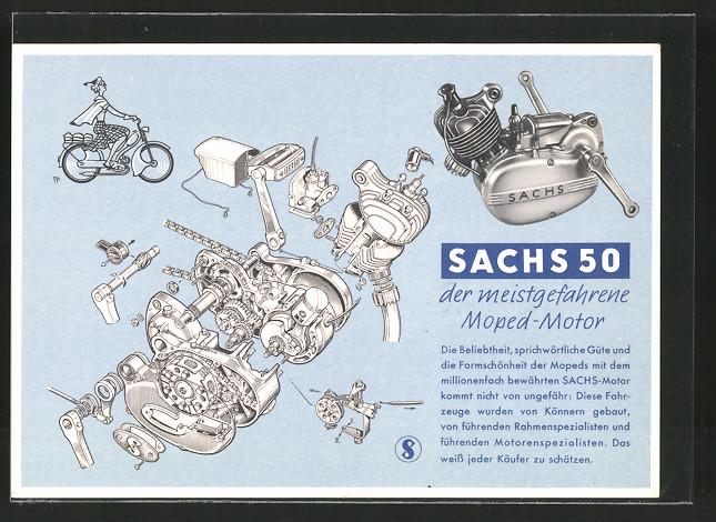 AK Reklame für Sachs 50 Moped-Motor, Motorrad