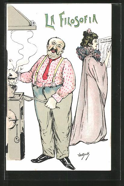 Künstler-AK sign. van Dock: La Filosofia, Ehemann steht am Herd und seine Gattin liest Zeitung, Allegorie