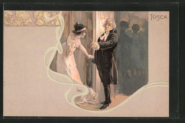 Künstler-AK Leopoldo Metlicovitz: Oper Tosca von G. Verdi, Paar im Gespräch