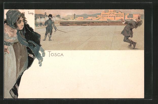 Künstler-AK Leopoldo Metlicovitz: Oper Tosca von G. Verdi, bei der Hinrichtung
