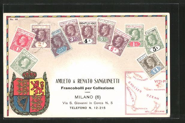 AK Fiji / Fidschi, Briefmarken von Fiji, Amleto & Renato Sanguinetti Francobolli per Collezione, Milano