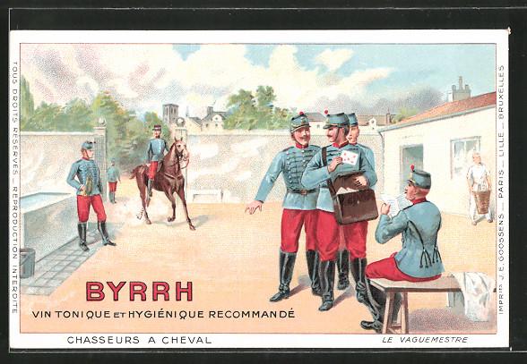 Künstler-AK Reklame für Vin Tonique Byrrh, Reiter der Kavallerie und Briefträger der Feldpost