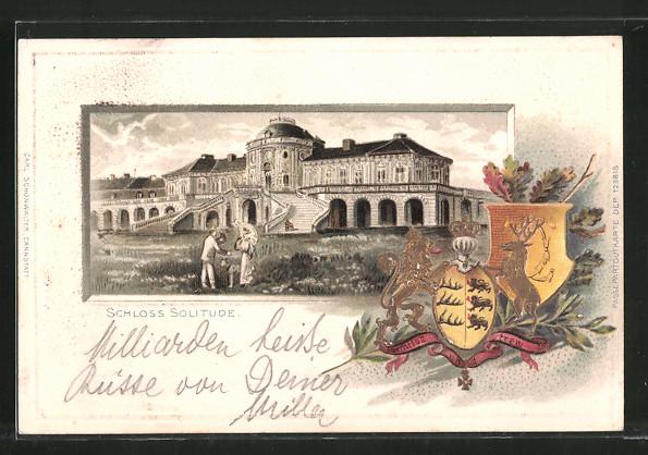 Passepartout-Lithographie Stuttgart, Blick zum Schloss Solitude, Wappen