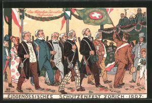 Künstler-AK Zürich, Eidgenössisches Schützenfest 1907, Fähnlein der sieben Aufrechten