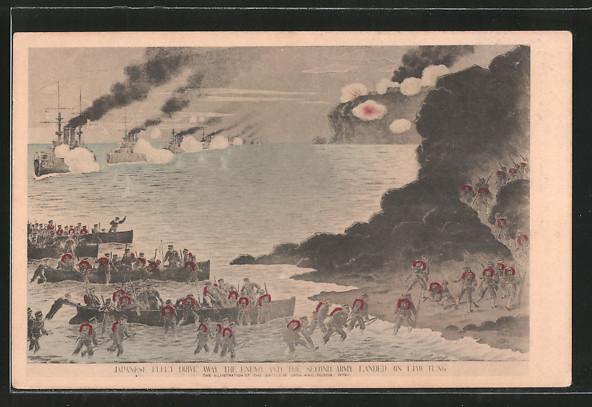 AK Liao Tung, Russisch-Japanischer Krieg, Landung japanischer Soldaten an der Küste