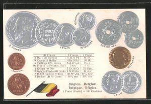 Präge-AK Belgisches Münz-Geld, Tabelle zur Umrechnung in andere Währungen
