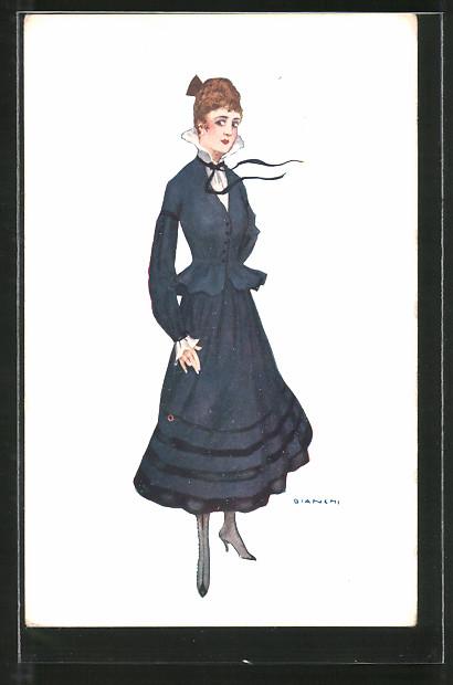 Künstler-AK Bianchi: Elegante Dame in einem blauen Kleid
