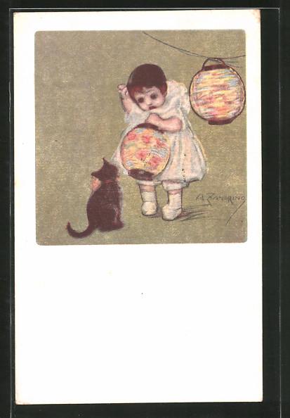 Künstler-AK A. Zandrino: Kleinkind mit Laterne und Katze