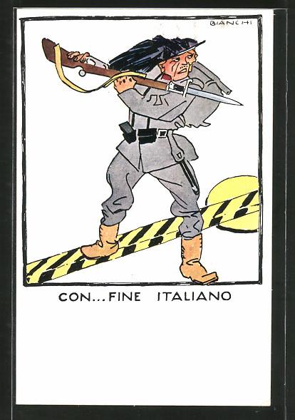 Künstler-AK Bianchi: Con...Fine Italiano, Soldat mit Gewehr und aufgepflanztem Bajonett