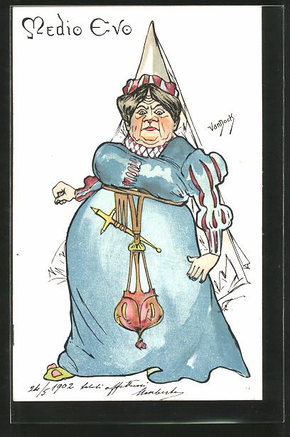 Künstler-AK sign. van Dock: Alte Frau in Mode des Mittelalters,