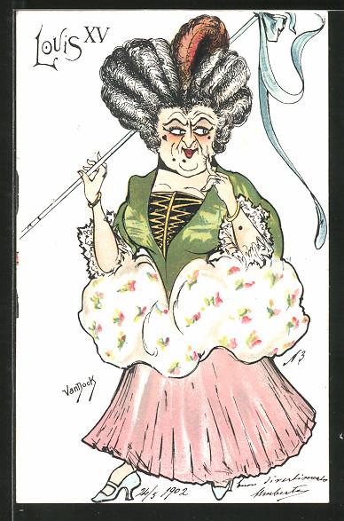 Künstler-AK sign. van Dock: Alte Frau in Mode nach Louis XV