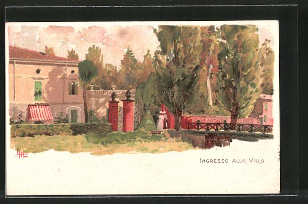 Künstler-Lithographie Leopoldo Metlicovitz: Ansicht der Villa Verdi