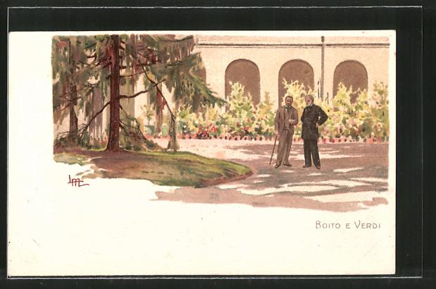 Künstler-Lithographie Leopoldo Metlicovitz: Komponist Verdi und Boito auf einem Spaziergang