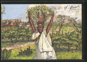 Künstler-AK Fiori d'Arancio dell'Harrar, Afrikanerin trägt einen Korb auf dem Kopf, afrikanische Volkstypen