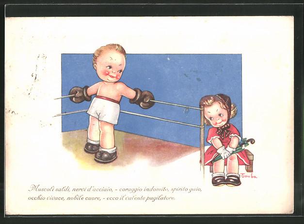 Künstler-AK kleiner Boxer steht im Ring und guckt zu seiner Liebsten