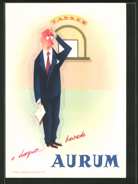 AK Reklame für Aurum, Herr zittert vor Angst