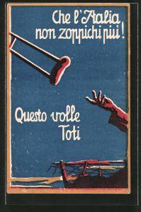 AK Prestito Nazionale, Kriegsanleihe, Che l\'Italia non zoppichi piu!, Hand wirft eine Krücke weg