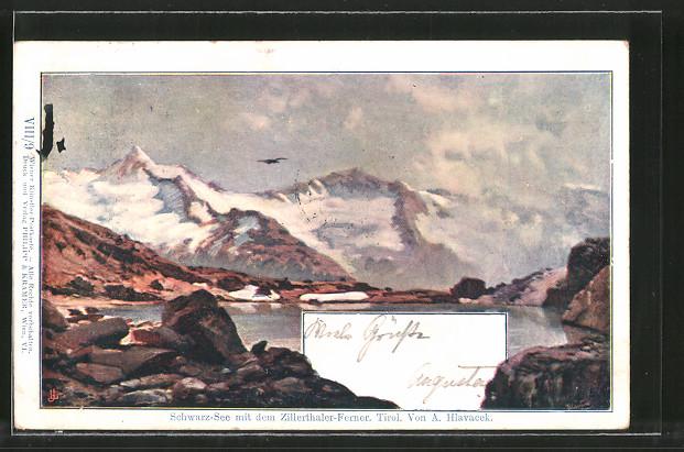 Künstler-AK Anton Hlavacek: Schwarz-See mit dem Zillerthaler-Ferner