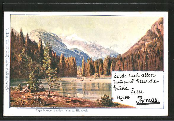 Künstler-AK Anton Hlavacek: Lago Bianco, Blick auf den See in Südtirol