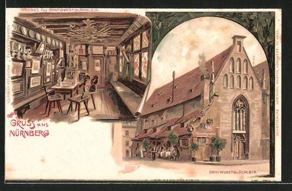 Künstler-Lithographie Erwin Spindler: Nürnberg, Gasthaus Bratwurstglöcklein, Aussen- u. Innenansicht