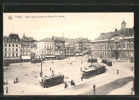 AK Liége, place Saint-Lambert et palais de Justice, Strassenbahn