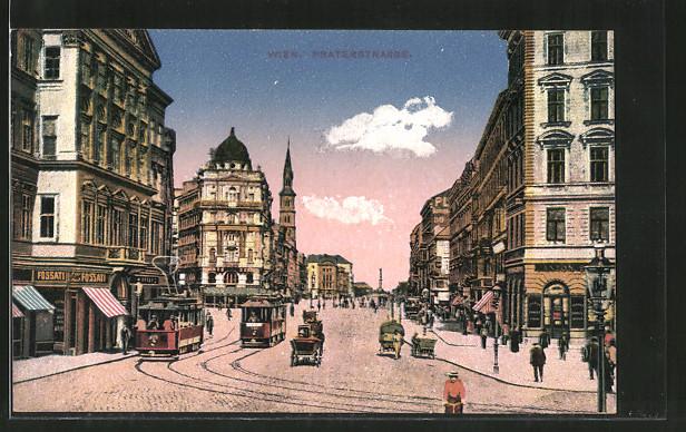 AK Wien, Praterstrasse mit Geschäften und Strassenbahnen