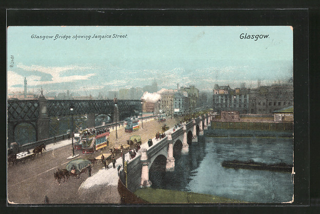 AK Glasgow, Glasgow Bridge showing Jamaica Street, Strassenbahnen