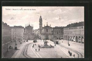 AK Torino, Piazza S. Carlo, vista da via Roma, Strassenbahnen