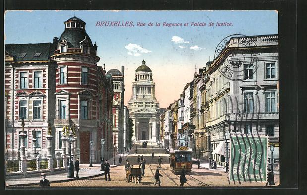 AK Bruxelles, rue de la Regence et palais de Justice, Strassenbahn