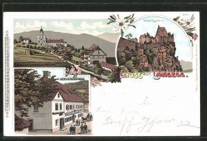 Lithographie Langegg, Kaltenegger's Gasthaus, Ruine Aggstein, Ortsansicht